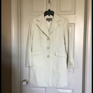 Ann Taylor Spring Button Down Coat Creamw/mint XS